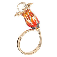 Кольцо Misis в позолоте с декором-цветком, фото