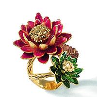 Позолоченное кольцо Misis Geisha с цветками из эмали, фото
