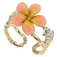 Кольцо Misis Everglades с фианитами и нежно-розовым цветком, фото