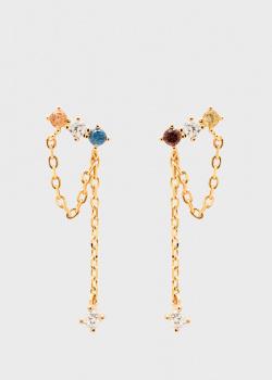 Серьги-цепочки P D Paola Five Mana с цветными камнями, фото