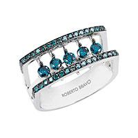 Кольцо Roberto Bravo Salsa с голубыми бриллиантами, фото