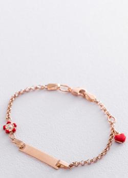 Золотой браслет Сердце и цветок под гравировку, фото