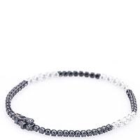 Тонкий браслет с черно-белыми бриллиантами, фото