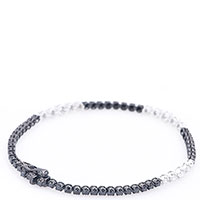 Тонкий браслет Оникс с черно-белыми бриллиантами, фото