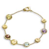Золотой браслет-цепочка Marco Bicego Jaipur с круглыми граненными драгоценными камнями, фото