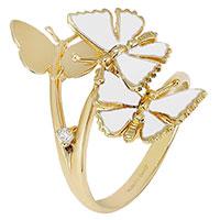 Золотое кольцо Roberto Bravo с 3 бабочками и бриллиантом, фото