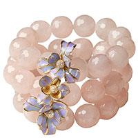Широкий браслет Misis Gemina с розовым агатом с цветками, фото