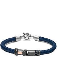 Синий браслет Baraka Croce Cardano с черными и белыми бриллиантами, фото