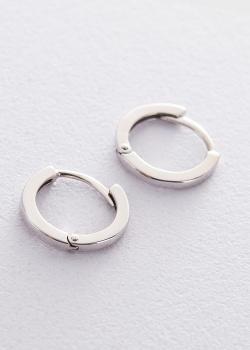 Серьги-кольца из белого золота, фото