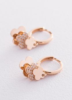 Золотые серьги-кольца с подвесками Клевер, фото