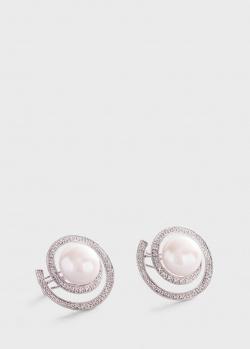 Золотые серьги Круговорот с бриллиантами и жемчугом, фото