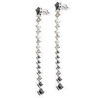 Длинные серьги Оникс с черными бриллиантами, фото