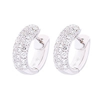 Cерьги-кольца Оникс с белыми бриллиантами, фото