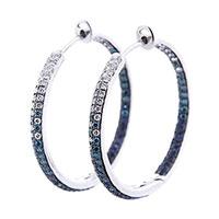 Золотые серьги-кольца Оникс с бриллиантами и сапфирами, фото