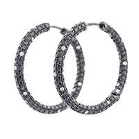 Золотые серьги-кольца Оникс с черными и белыми бриллиантами, фото