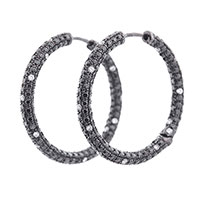 Золотые серьги-кольца с черными и белыми бриллиантами, фото