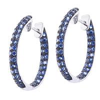 Серьги-кольца Оникс с синими сапфирами, фото