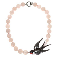 Колье Misis Hanami с розовым кварцем и птицей, фото