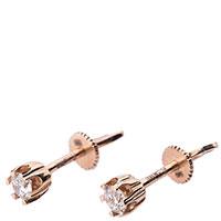 Золотые серьги-пусеты с бриллиантом, фото