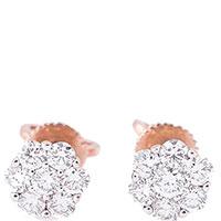 Серьги-пусеты Оникс с бриллиантами, фото