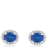Серьги-гвоздики Оникс с бриллиантами и синим сапфиром, фото