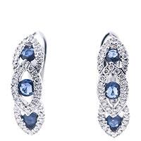 Серьги Оникс с сапфирами и бриллиантами, фото