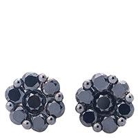 Серьги-пусеты Оникс с черными бриллиантами, фото