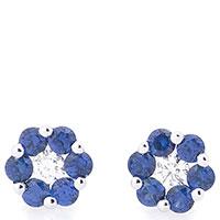 Серьги-гвоздики Цветок с бриллиантами и сапфирами, фото