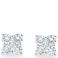 Золотые серьги-пусеты с бриллиантами, фото
