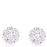 Серьги-пусеты с бриллиантами из белого золота, фото