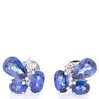 Серьги-пусеты Оникс с бриллиантами и сапфирами, фото