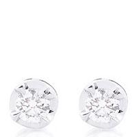 Серьги-гвоздики из белого золота с бриллиантами, фото