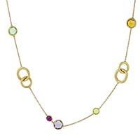 Золотое ожерелье Marco Bicego Jaipur с кольцами и цветными камнями, фото