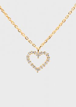 Позолоченная цепочка с кулоном P D Paola White Heart Gold, фото