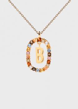 Позолоченная цепочка с  кулоном P D Paola Letters B, фото