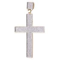 Золотая подвеска-крестик с бриллиантами, фото