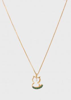 Цепочка с кулоном Ponte Vecchio из золота с бриллиантом и цаворитом, фото