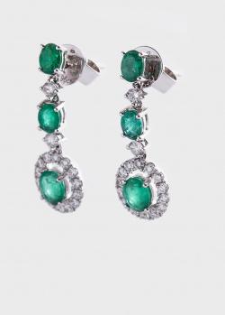 Золотые серьги с зелеными изумрудами 1.30ct и бриллиантами, фото