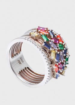 Широкое кольцо Roberto Bravo Color с разноцветными фианитами, фото