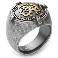 Кольцо DIESEL стальное с золотым, фото