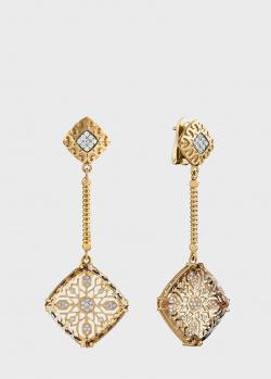 Золотые сережки Art Vivace Jewelry Звезда Милады с винным топазом, фото
