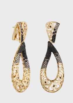 Золотые кружевные серьги Art Vivace Jewelry Золотое сердце с черными и коньячными бриллиантами, фото
