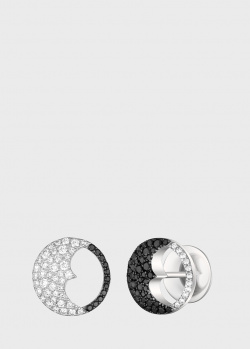 Серьги из белого золота Art Vivace Jewelry День и ночь с черными бриллиантами, фото