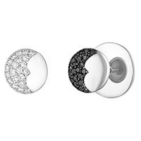 Серьги Art Vivace Jewelry День и ночь с черными бриллиантами, фото