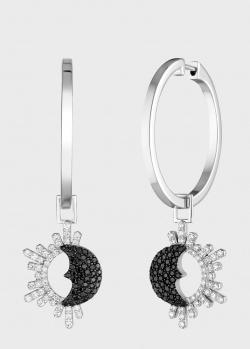 Серьги-трансформеры Art Vivace Jewelry День и ночь из белого золота, фото