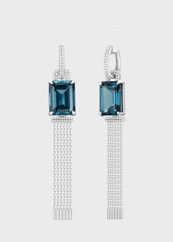 Длинные серьги из белого золота Art Vivace Jewelry Ice Blue с топазом, фото