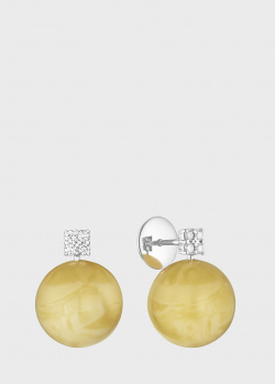 Золотые пусеты Art Vivace Jewelry с янтарем и бриллиантами, фото