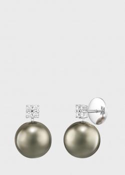 Пусеты из белого золота Art Vivace Jewelry с черным жемчугом, фото
