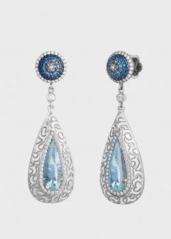 Серьги Art Vivace Jewelry Голубой цветок с бриллиантами и голубым топазом, фото