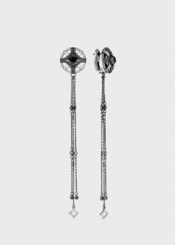 Длинные серьги Art Vivace Jewelry Магия с черными бриллиантами, фото